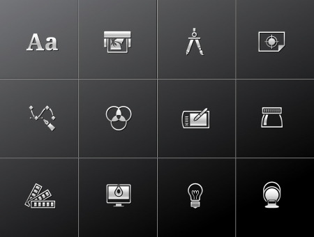 calibration: Printing   graphic design icon series in metallic style  EPS 10