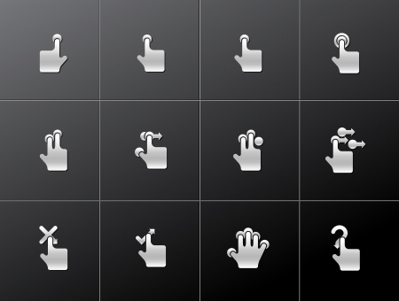 Touch pad gestures icons series in metallic style Stock Vector - 15259191