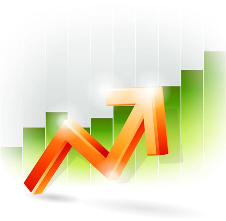 Red arrow on green bar graph Vector