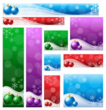 Christmas banner set in various color & size. Vector