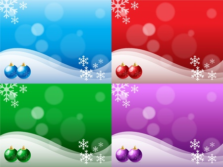 Christmas background in 4 different colors.