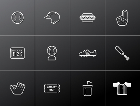 Baseball related icons in metallic style Vector