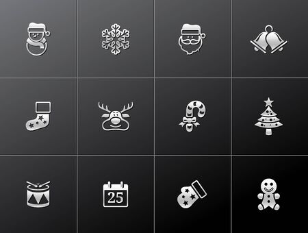 Christmas icon series in metallic style Stock Vector - 17233553