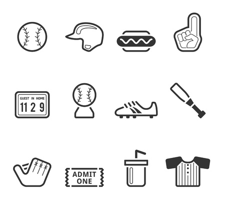 outfield: Baseball related icons in black and white.