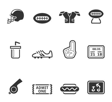 1 つの色でアメリカン フットボール アイコン シリーズ  イラスト・ベクター素材