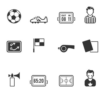 サッカー関連アイコン シリーズ 1 つの色で  イラスト・ベクター素材