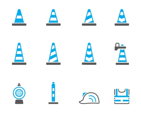 road works ahead: Traffic warning sign icon  series in duotone. Illustration
