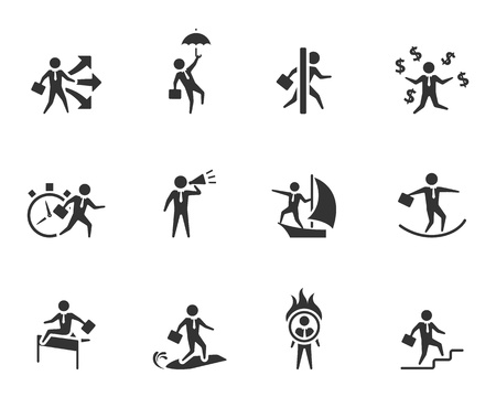 surf team: Businessman icon in various activities in single color.