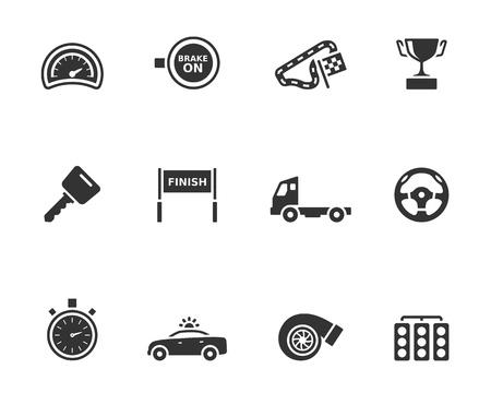 motor race: Racing pictogram reeks in een enkele kleur.