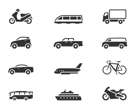 Transportation icon series in single color style 일러스트