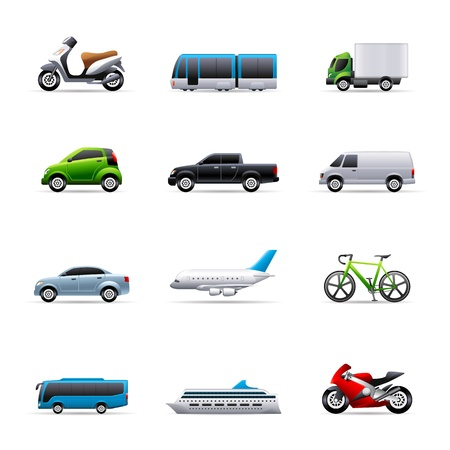 Transportation icon series in colors.