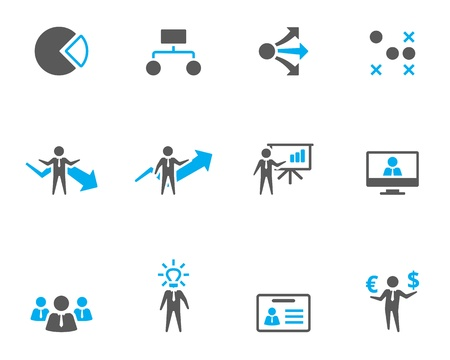 Webinar: Business icon series in duo tone style.