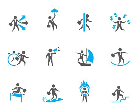Businessman icon in various activities.