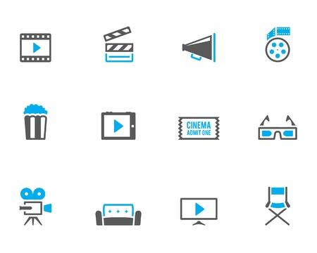 movie film reel: Cine icono serie en estilo de color bitono. Vectores