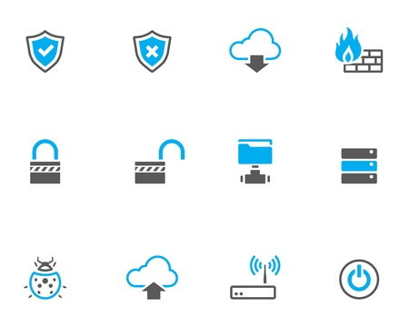 firewall icon: Computer network icon series in duo tone color style.