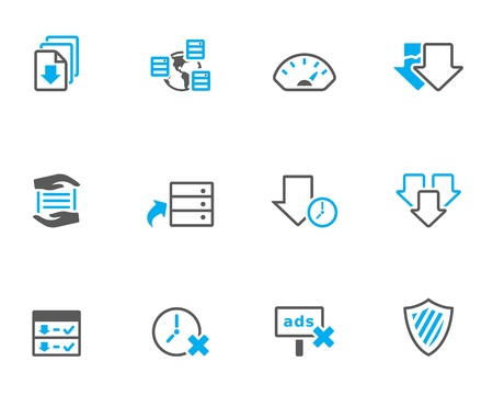File sharing icon series in duotone color style.  Ilustracja