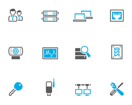 Computer network icon series in duo tone color style.