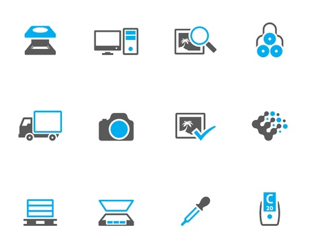 Printing &amp, graphic design icon series in duotone. Vector
