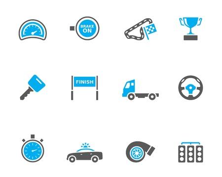 compteur de vitesse: Course icône dans la série timbres duo. Illustration