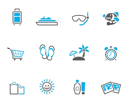 duo tone: Travel icon set in duo tone color style Illustration
