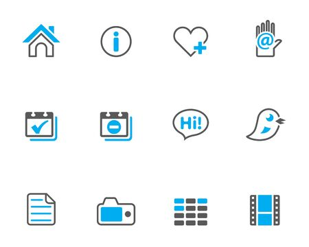 Personal website and portfolio icons series in duotone style.  Vector