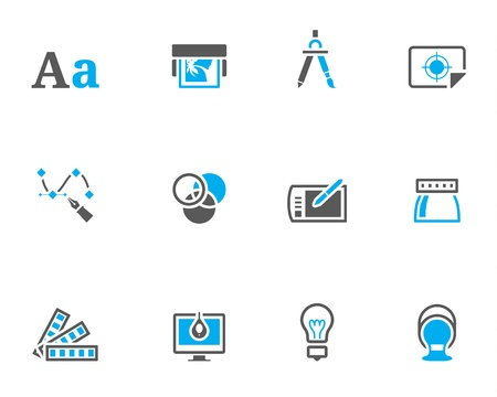 Printing &, graphic design icon series in duotone color style.