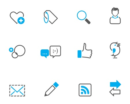 tone on tone: Social network icon series in duo tone color style. Illustration