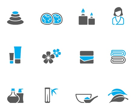 Spa related icon series in duo tone color style. Stock Illustratie