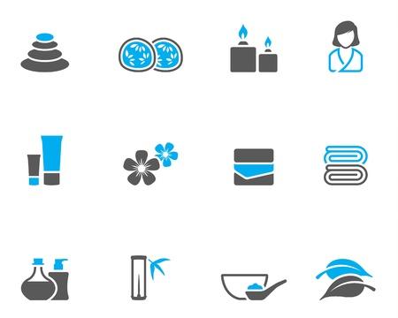 massage therapie: Spa gerelateerde pictogram serie in duo-tone kleur stijl. Stock Illustratie