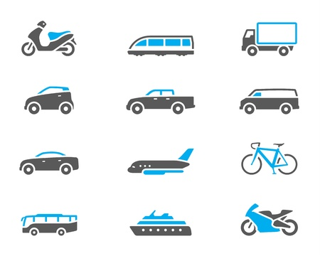 Transportation icon series in duo tone color style.  Vector