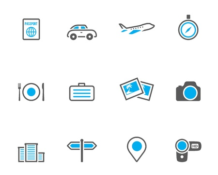 Travel icon series in duotone color style. EPS 10.