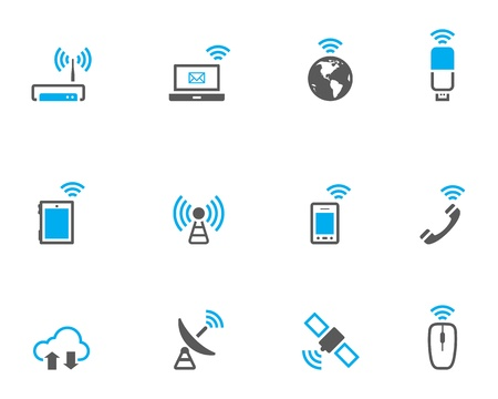 telecom: Wireless technology icon set in duo tone color style. Illustration