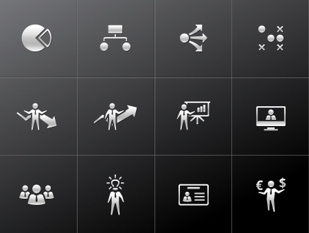 Business icon series in metallic style.