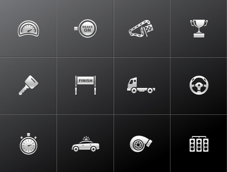 Racing icon series in metallic style Vector