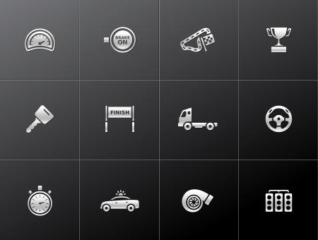 Racing icon series in metallic style
