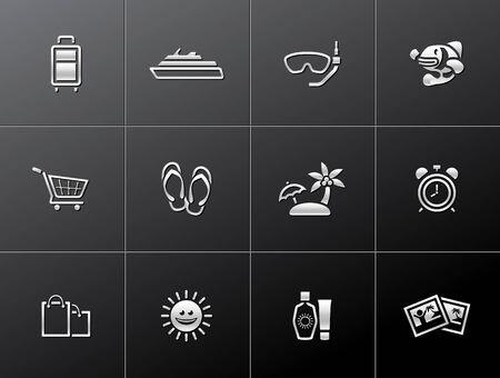 Travel icon set in metallic style. Stock Vector - 17233581