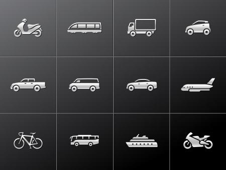Transport icône de la série dans le style métallique.
