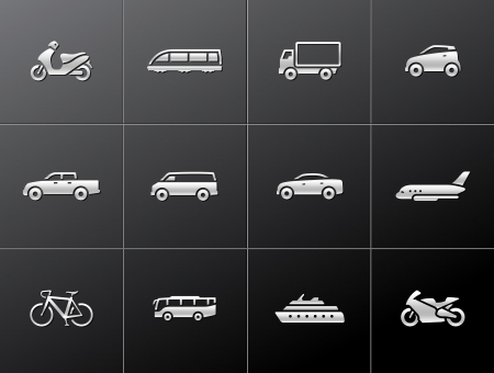 Transportation icon series in metallic style.  Vector