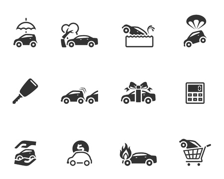 cars parking: Car insurance icons in single color Illustration