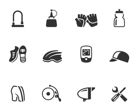 Bicycle accessories icons series  in single color 矢量图像
