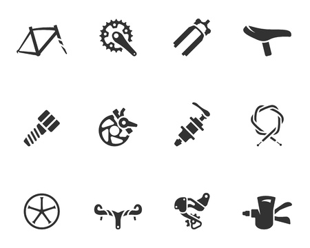 Bicycle part icons series  in single color