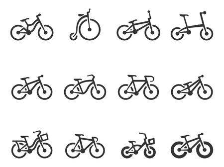 ni�os en bicicleta: Iconos de tipo de la bicicleta en un solo color