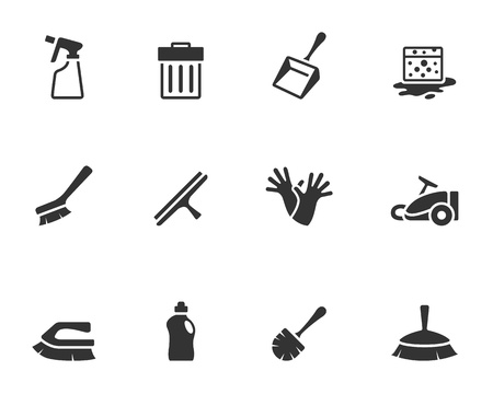 Cleaning tool icon series  in single color 일러스트
