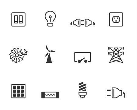 elektriciteit: Elektriciteit pictogrammen in enkele kleuren Stock Illustratie