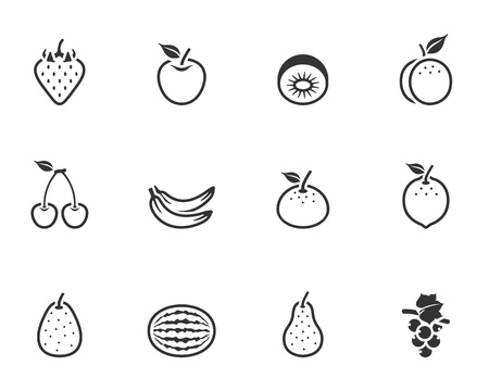 Fresh fruit icons in single color