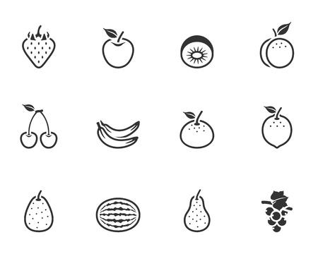 1 つの色で新鮮なフルーツのアイコン