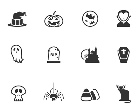 Halloween icon series in black and white Vector