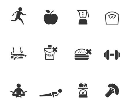 Icona di vita sana in un unico colore Vettoriali