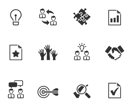 Management icon series  in black and white