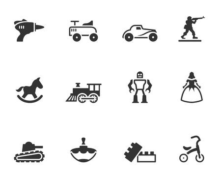 juguetes antiguos: Iconos de juguete de �poca en un solo color Vectores